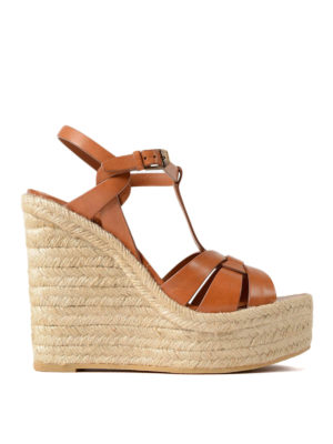 Saint Laurent: sandals - Leather sandals with jute wedge