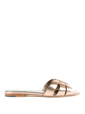 SAINT LAURENT: sandali - Ciabattine Nu Pieds in pelle metallizzata
