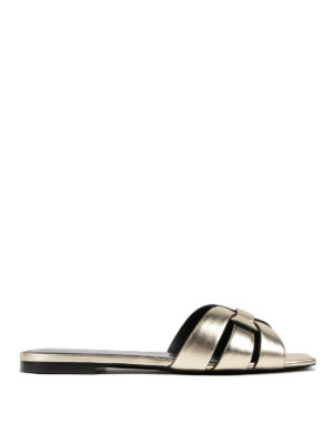 Saint Laurent: sandals - Nu Pieds Tribute flat slide sandals