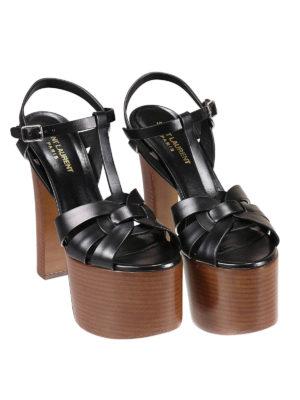 Saint Laurent: sandals online - Betty leather wedge sandals