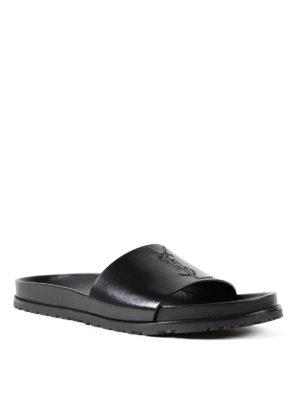 Saint Laurent: sandals online - Jimmy 20 leather slide sandals