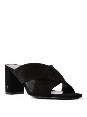 Saint Laurent: sandals online - Loulou 70 suede sandals
