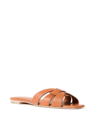 Saint Laurent: sandals online - Nu Pied 05 leather slide sandals