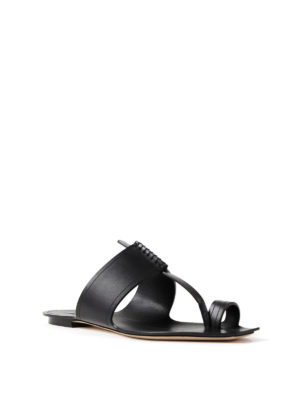 Saint Laurent: sandals online - Saba black leather thong sandals
