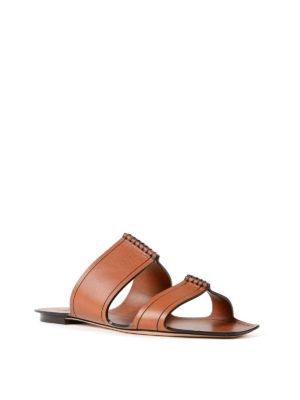 Saint Laurent: sandals online - Saba flat leather sandals