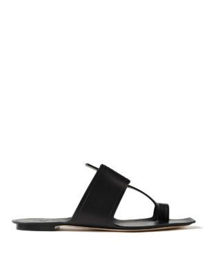 Saint Laurent: sandals - Saba black leather thong sandals
