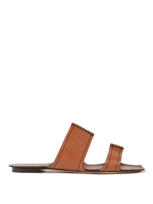 Saint Laurent: sandals - Saba flat leather sandals