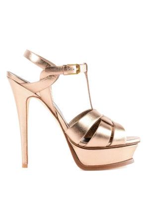 SAINT LAURENT: sandali - Sandali in pelle metallizzata oro Tribute 105