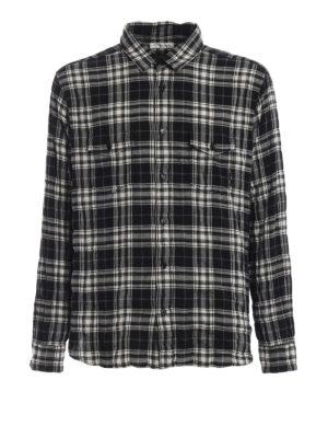 SAINT LAURENT: camicie - Camicia in cotone a quadri stropicciata