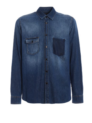 Saint Laurent: shirts - Frayed hem denim shirt