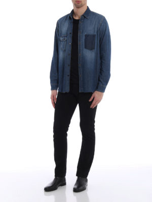 Saint Laurent: shirts online - Frayed hem denim shirt