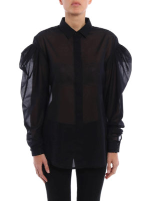 Saint Laurent: shirts online - Long puffed sleeve batiste shirt