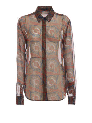 SAINT LAURENT: camicie - Camicia in chiffon Paisley e righe lamé
