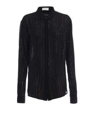 Saint Laurent: shirts - Pleated effect silk and lurex shirt