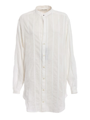 Saint Laurent: shirts - Striped cotton oversize shirt