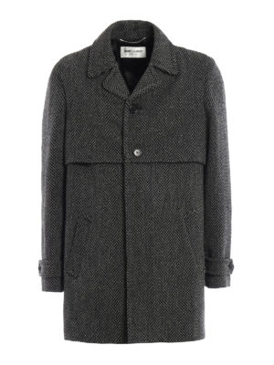 Saint Laurent: short coats - Herringbone wool coat