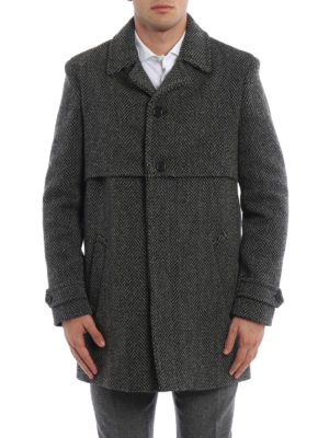 Saint Laurent: short coats online - Herringbone wool coat