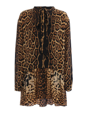 Saint Laurent: short dresses - Animal print silk flounced dress
