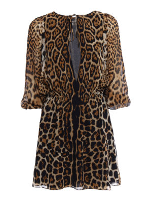 Saint Laurent: short dresses - Animal print silk short dress
