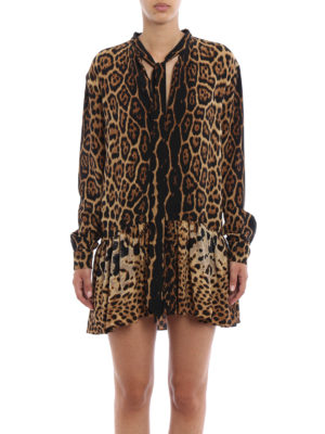 Saint Laurent: short dresses online - Animal print silk flounced dress