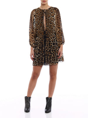 Saint Laurent: short dresses online - Animal print silk short dress