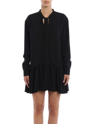 Saint Laurent: short dresses online - Sable flounced short dress