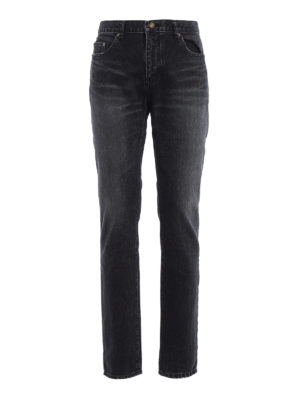 Saint Laurent: skinny jeans - Embroidered signature jeans