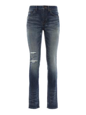 SAINT LAURENT: jeans skinny - Jeans slavati a vita media con rotture