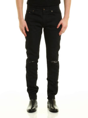 Saint Laurent: skinny jeans online - Studded leather patches jeans