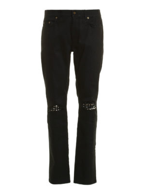 Saint Laurent: skinny jeans - Studded leather patches jeans