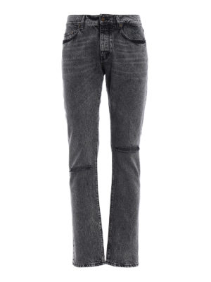 Saint Laurent: straight leg jeans - Faded denim jeans with rips