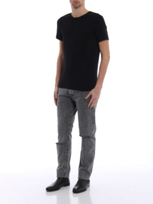 Saint Laurent: straight leg jeans online - Faded denim jeans with rips
