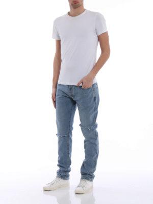 Saint Laurent: straight leg jeans online - Vintage look cotton denim jeans