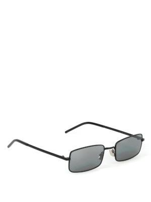 SAINT LAURENT: occhiali da sole - Occhiali da sole rettangolari in metallo nero