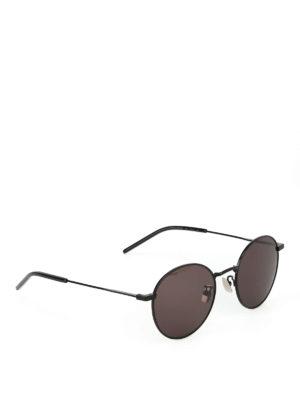SAINT LAURENT: occhiali da sole - Occhiali da sole tondi in metallo nero