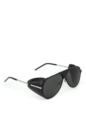 SAINT LAURENT: occhiali da sole - Occhiali Classic 11 Blind inserti in pelle
