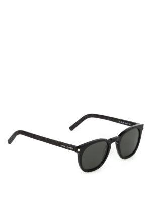SAINT LAURENT: occhiali da sole - Occhiali da sole con aste in pelle cocco