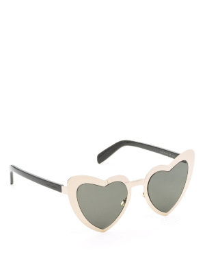 Saint Laurent: sunglasses - Golden heart-shaped sunglasses