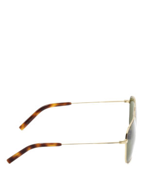 Saint Laurent: sunglasses online - Gold metal double bridge sunglasses