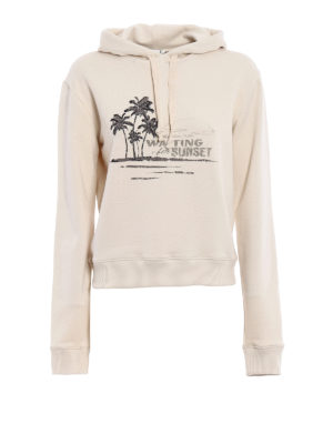 Saint Laurent: Sweatshirts & Sweaters - Embroidered Sunset cotton hoodie