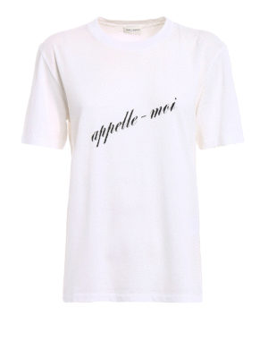 Saint Laurent: t-shirts - Appelle-moi print T-shirt