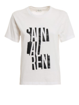 7eb0ee9ef67 SAINT LAURENT: t-shirt - T-shirt con stampa del logo a contrasto