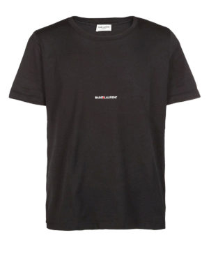 SAINT LAURENT: t-shirt - T-shirt con logo in jersey