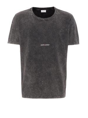 SAINT LAURENT: t-shirt - T-shirt nera sbiadita con logo