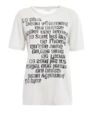 Saint Laurent: t-shirts - Faded print drilled T-shirt