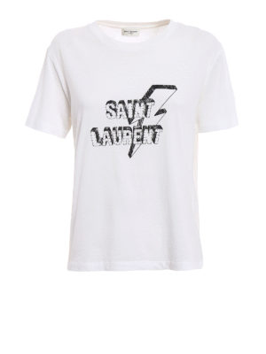 Saint Laurent: t-shirts - Lightning bolt logo print white Tee