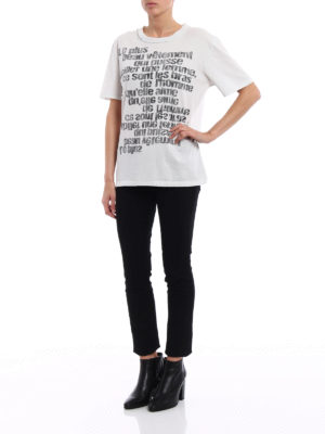 Saint Laurent: t-shirts online - Faded print drilled T-shirt