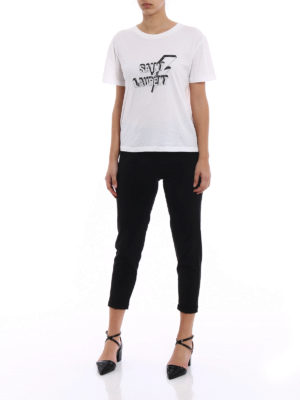 Saint Laurent: t-shirts online - Lightning bolt logo print white Tee