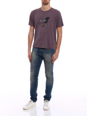 Saint Laurent: t-shirts online - Lightning Bolt print melange Tee