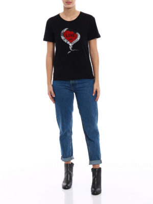 Saint Laurent: t-shirts online - Love print cotton T-shirt